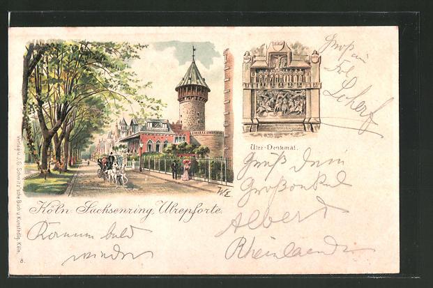 Lithographie Köln-Neustadt, Sachsenring, Uferpforte
