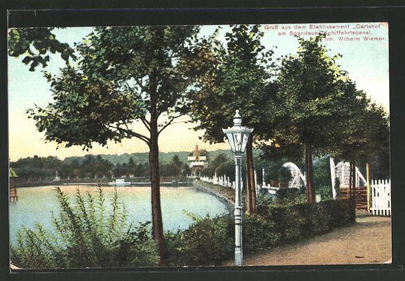AK Berlin-Charlottenburg, Gasthaus Carlshof am Spandauer Schiffahrtscanal
