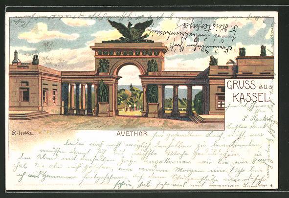 Lithographie Kassel, Blick zum Auethor