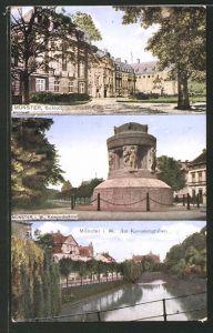 AK Münster, Strassenpartie am Schloss, Kriegerdenkmal, Am Kanonengraben
