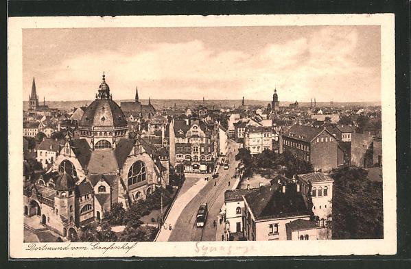 AK Dortmund, Blick vom Grafenhof aus mit Synagoge