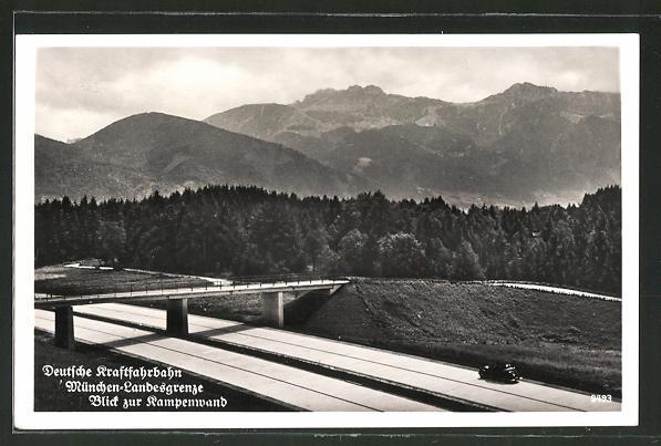 AK Reichsautobahn München-Landesgrenze mit Blick zur Kampenwand