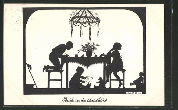 Künstler-AK Elsbeth Forck: Kinder schreiben Briefe an das Christkind