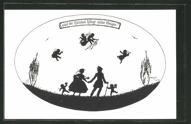 Künstler-AK Elsbeth Forck: Liebespaar spaziert über die Wiese, Elfen musizieren