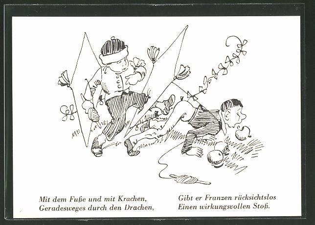 Künstler-AK Wilhelm Busch: die Drachen, Junge tritt Franzen in den Hintern