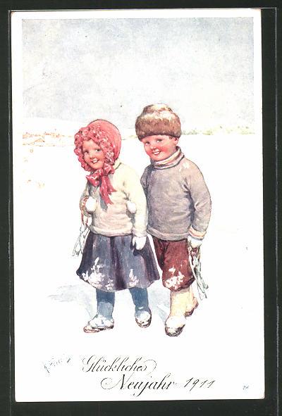 Künstler-AK Karl Feiertag: Glückliches Neujahr, Kleines Paar im Schnee