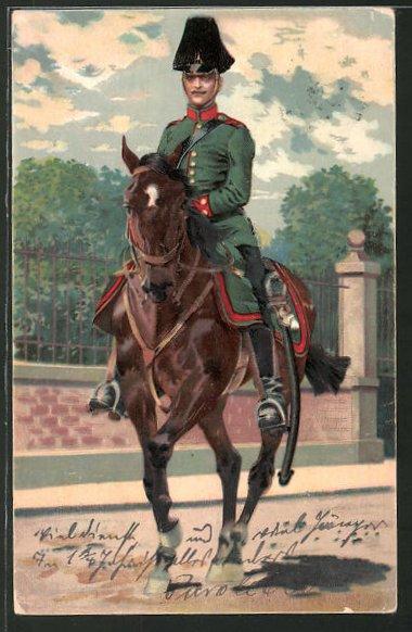Künstler-AK Anton Hoffmann - München: Kavallerist zu Pferd