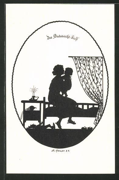 Künstler-AK Elsbeth Forck: Schattenbilder, Unser Kind, Der Gutenacht-Kuss