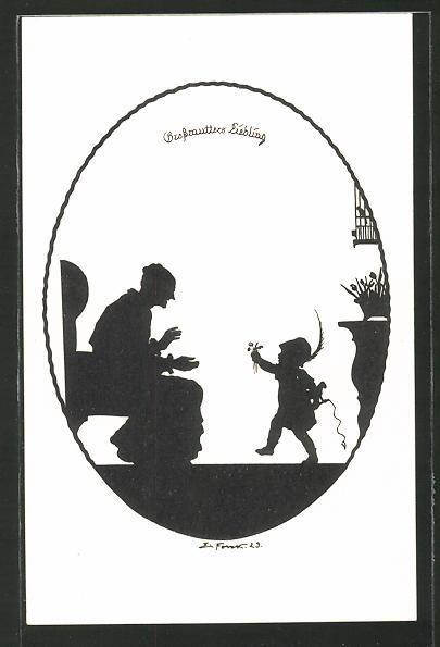 Künstler-AK Elsbeth Forck: Schattenbilder, Unser Kind, Grossmutters Liebling
