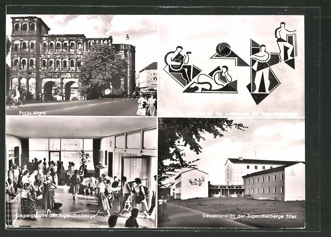 AK Trier, Porta Nigra, Eingangshalle der Jugendherberge, Gesamtansicht der Jugendherberge