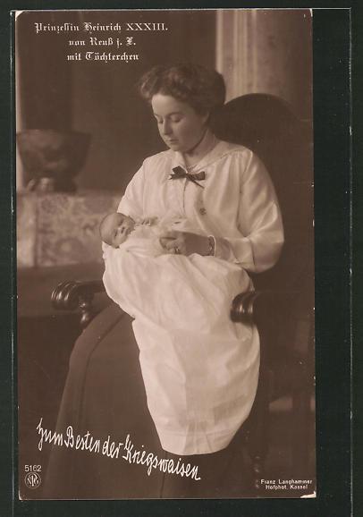 AK Prinzessin Viktoria Margarete, Gemahlin von Heinrich XXXIII. Reuss zu Köstritz, mit Prinzessin Marie Luise