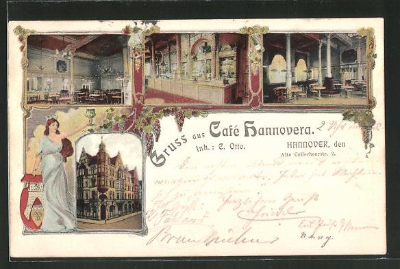 Lithographie Hannover, Cafe Hannovera, verschiedene Ansichten