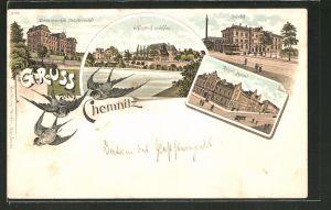 Lithographie Chemnitz, Schlossteich mit Schloss, Bahnhof, Kaiserl. Postamt