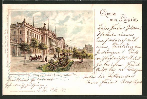 Lithographie Leipzig, Blick zum Augusteum, Universität