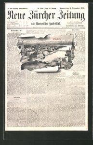 Passepartout-AK Zürich, Neue Züricher Zeitung vom 9.November 1911 & Ortsansicht