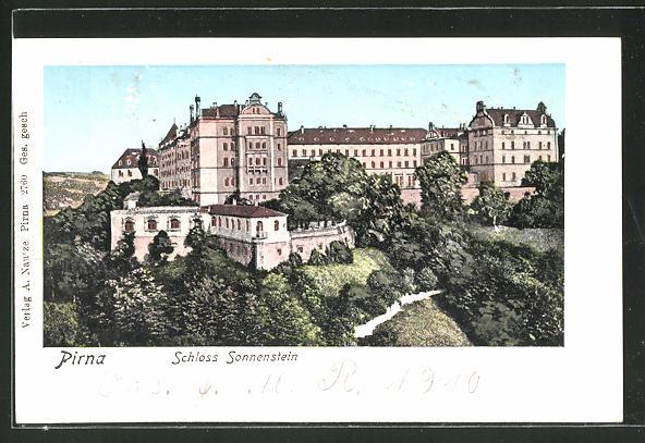Goldfenster-AK Pirna, Schloss Osterstein mit leuchtenden Fenstern