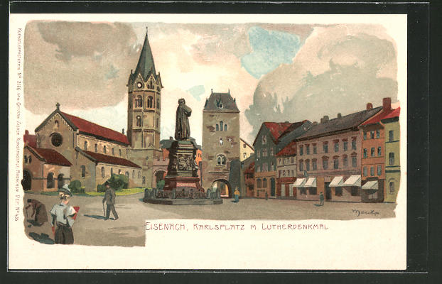 Künstler-AK Alexander Marcks: Eisenach, Karlsplatz & Lutherdenkmal
