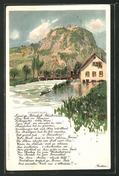 Künstler-Lithographie Carl Biese: Ohentwiel, Landidyll
