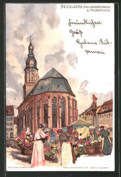 Künstler Heidelberg künstler ak c pfaff heidelberg heiliggeistkirche und marktplatz