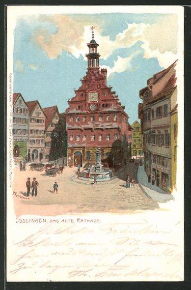 Künstler-Lithographie P. Kraemer: Esslingen, Das Alte Rathaus