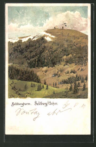 Künstler-AK Ludwig Zorn: Feldberg, Blick zum Feldbergturm