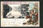 Passepartout-Lithographie Königsee, Blick über den See, Bootspartie, Passepartout mit Bäuerin und Kuh