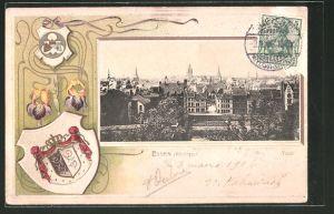 Passepartout-Lithographie Essen, Totalansicht aus der Vogelschau, Wappen der Stadt