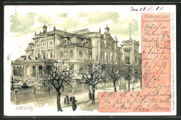 Künstler-AK Carl Münch: Karlsruhe, Blick auf das Palais Prinz Max