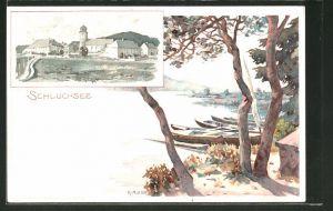 Künstler-AK Karl Mutter: Schluchsee, Ortsansicht aus der Ferne, Blick auf den See