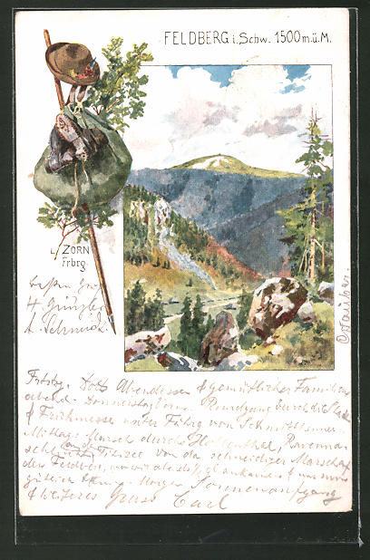 Künstler-AK Ludwig Zorn: Feldberg, Blick in die Landschaft