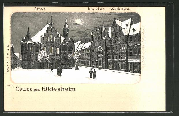 Winter-Lithographie Hildesheim, Rathaus, Templerhaus und Wedekindhaus bei Nacht und Vollmond