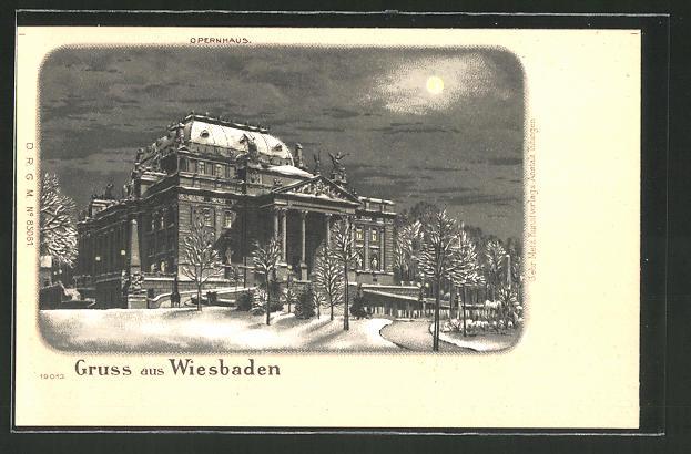 Winter-Lithographie Wiesbaden, Opernhaus bei Nacht und Vollmond