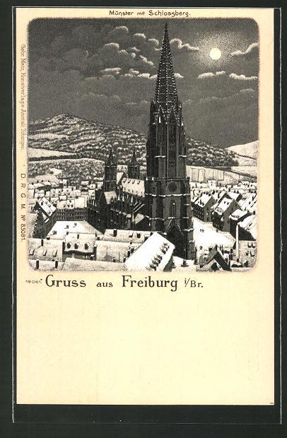 Winter-Lithographie Freiburg, Münster in einer Mondnacht