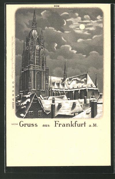 Winter-Lithographie Frankfurt, verschneiter Dom in einer Mondnacht