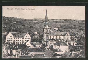 AK Mutzig, Kirche, Schul- und Pfarrhaus aus der Vogelschau