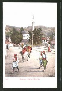 AK Sarajewo, Strassenpartie mit Blick auf die Kaiser Moschee