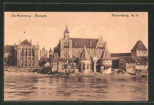 AK Marienburg / Malbork, Blick auf die Westseite der Marienburg