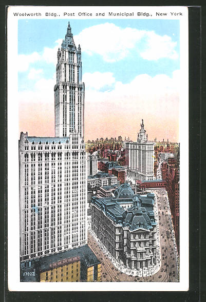 AK New York, NY, Woolworth Building, Post Office and Municipal Building