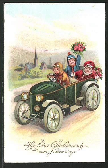 Ak Kinder Fahren Mit Einem Auto Geburtstag Nr 7538010 Oldthing