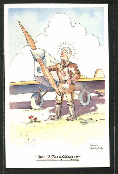 Künstler-AK Flieger-Humor: Alleinflieger vor seinem Flugzeug