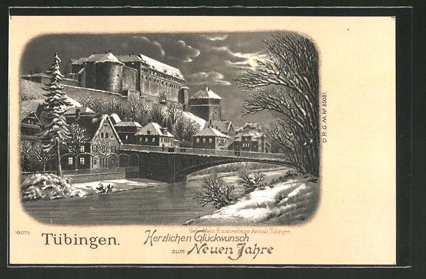 Winter-Lithographie Tübingen, Partie am Fluss mit Brücke, Neujahrsgruss