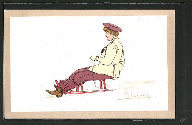 Künstler-AK Carlo Pellegrini: Frau auf einem Schlitten im Schnee