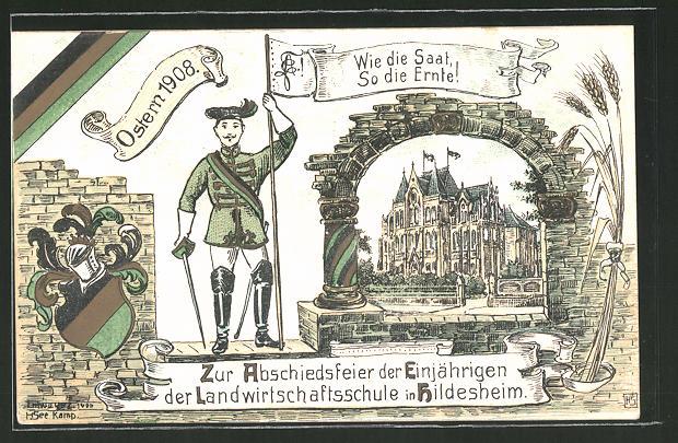 Künstler-AK Hildesheim, Zur Abschiedsfeier der Einjährigen der Landwirtschaftsschule 1908