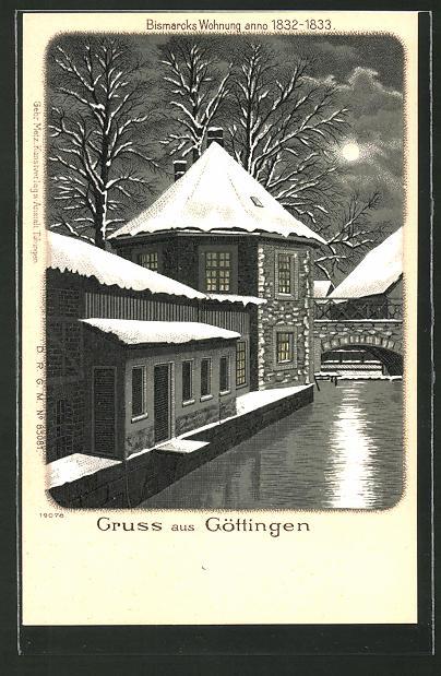 Winter-Lithographie Göttingen, Bismarcks Wohnung anno 1832-1833, Ansicht im Mondschein