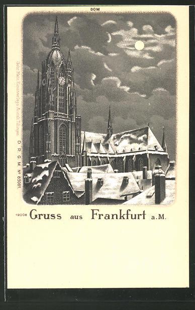 Winter-Lithographie Alt-Frankfurt, Dom bei Nacht und Vollmond