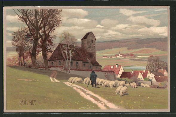 Künstler-Lithographie Paul Hey: Hirte mit seinen Schafen auf der Weide