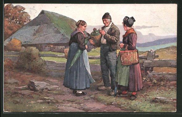 Künstler-AK Fritz Reiss: Schwarzwälder mit einer Weinflasche im Korb am Zaun des Gehöft