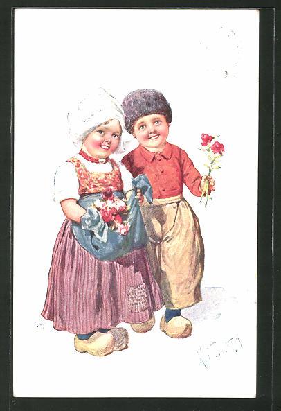 Künstler-AK Karl Feiertag: Kleines Holländer-Paar mit Blumen