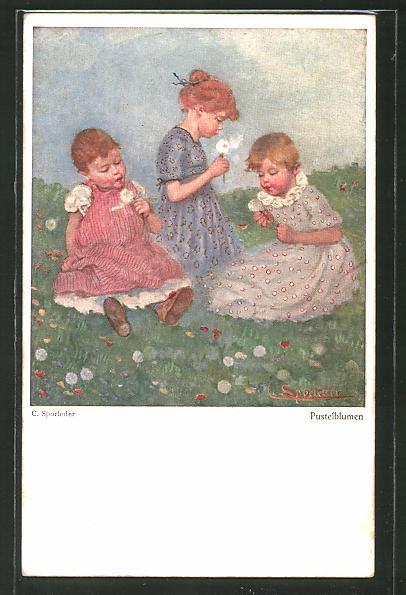 Künstler-AK C. Sporleder: Kinder mit Pusteblumen auf einer Wiese