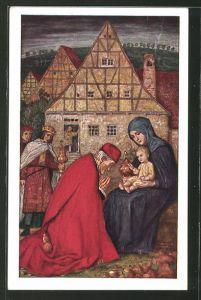 Künstler-AK Matthäus Schiestl: Die heiligen drei Könige begrüssen Jesus